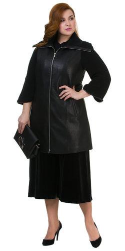 Кожаное пальто эко кожа 100% П/А, цвет черный, арт. 18700164  - цена 5290 руб.  - магазин TOTOGROUP