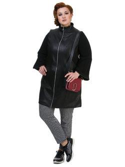 Кожаное пальто эко кожа 100% П/А, цвет черный, арт. 18700165  - цена 6630 руб.  - магазин TOTOGROUP