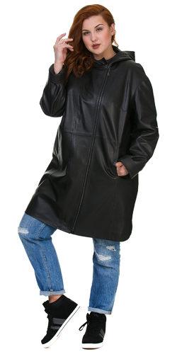 Кожаное пальто кожа баран, цвет черный, арт. 18700171  - цена 16490 руб.  - магазин TOTOGROUP