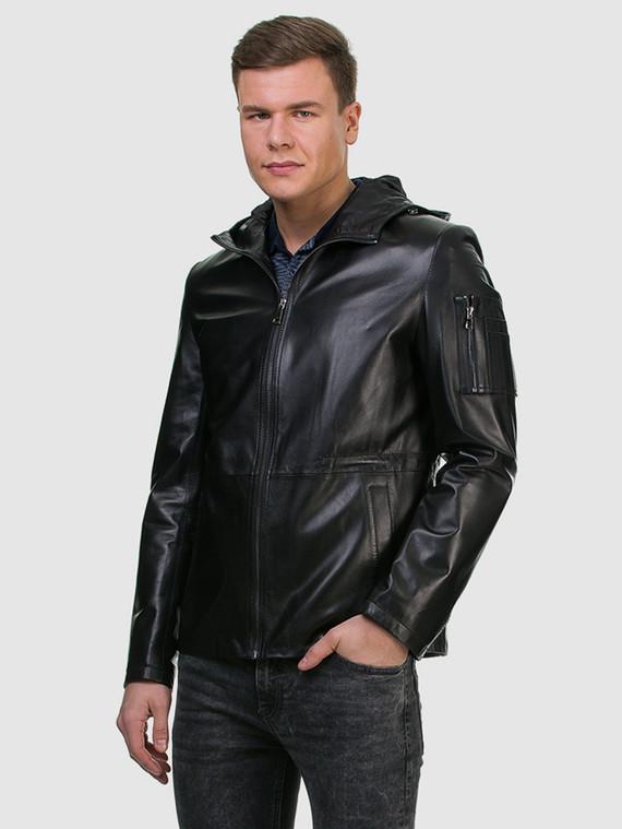 Кожаная куртка кожа , цвет черный, арт. 18700196  - цена 12690 руб.  - магазин TOTOGROUP