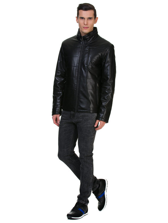 Кожаная куртка эко кожа 100% П/А, цвет черный, арт. 18700208  - цена 6990 руб.  - магазин TOTOGROUP