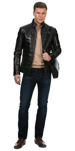 Кожаная куртка кожа баран, цвет черный, арт. 18700223  - цена 17490 руб.  - магазин TOTOGROUP