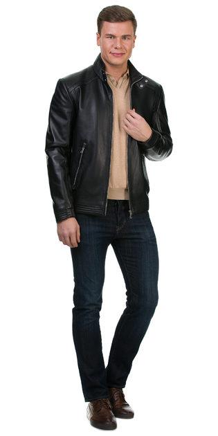 Кожаная куртка кожа баран, цвет черный, арт. 18700224  - цена 11192 руб.  - магазин TOTOGROUP
