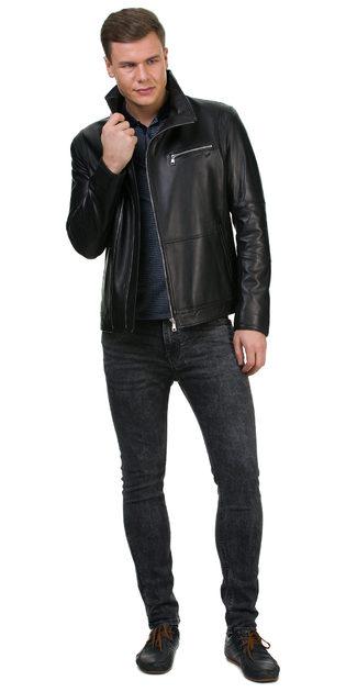 Кожаная куртка кожа баран, цвет черный, арт. 18700227  - цена 13990 руб.  - магазин TOTOGROUP