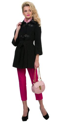 Текстильное пальто 30%шерсть, 70% п\а, цвет черный, арт. 18700399  - цена 3190 руб.  - магазин TOTOGROUP