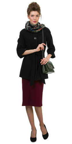 Текстильное пальто 30%шерсть, 70% п\а, цвет черный, арт. 18700401  - цена 2990 руб.  - магазин TOTOGROUP