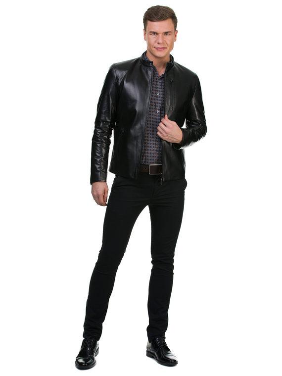 Кожаная куртка кожа , цвет черный, арт. 18700419  - цена 14990 руб.  - магазин TOTOGROUP