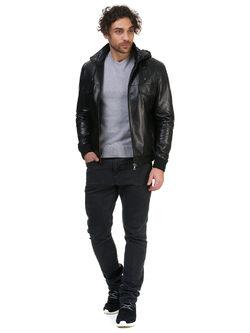 Кожаная куртка кожа овца, цвет черный, арт. 18700423  - цена 18490 руб.  - магазин TOTOGROUP