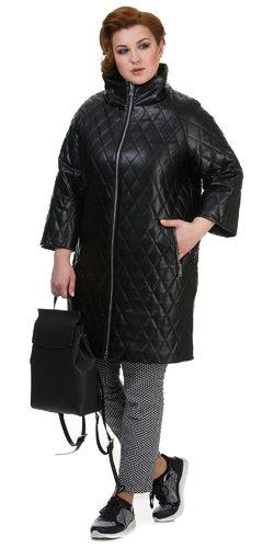Кожаное пальто эко кожа 100% П/А, цвет черный, арт. 18700450  - цена 8990 руб.  - магазин TOTOGROUP