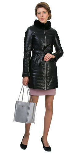 Кожаное пальто эко кожа 100% П/А, цвет черный, арт. 18700451  - цена 8990 руб.  - магазин TOTOGROUP