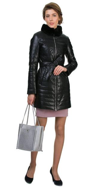 Кожаное пальто эко кожа 100% П/А, цвет черный, арт. 18700451  - цена 5890 руб.  - магазин TOTOGROUP