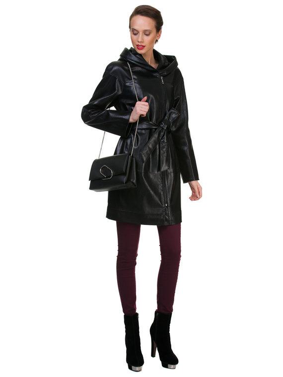 Кожаное пальто эко кожа 100% П/А, цвет черный, арт. 18700453  - цена 7490 руб.  - магазин TOTOGROUP