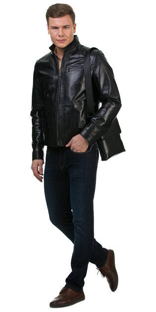 Кожаная куртка кожа овца, цвет черный, арт. 18700457  - цена 14990 руб.  - магазин TOTOGROUP