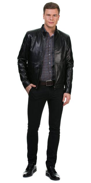 Кожаная куртка кожа овца, цвет черный, арт. 18700458  - цена 12690 руб.  - магазин TOTOGROUP