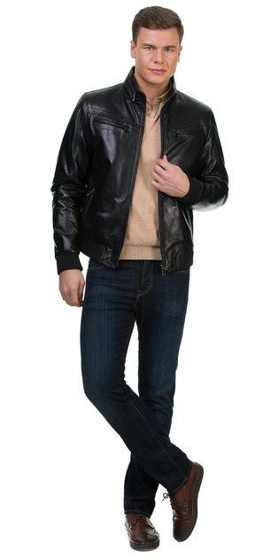 Кожаная куртка кожа овца, цвет черный, арт. 18700459  - цена 14990 руб.  - магазин TOTOGROUP