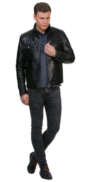 Кожаная куртка кожа овца, цвет черный, арт. 18700460  - цена 12690 руб.  - магазин TOTOGROUP