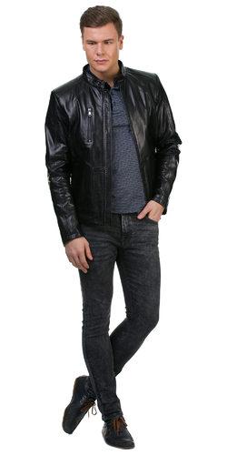 Кожаная куртка кожа овца, цвет черный, арт. 18700461  - цена 11290 руб.  - магазин TOTOGROUP