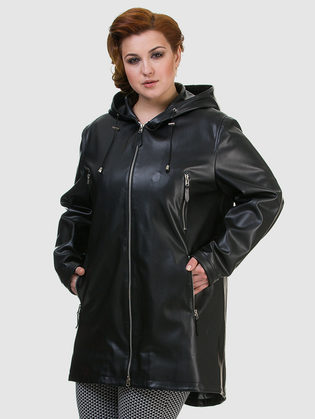 Кожаное пальто эко кожа 100% П/А, цвет черный, арт. 18700475  - цена 7990 руб.  - магазин TOTOGROUP