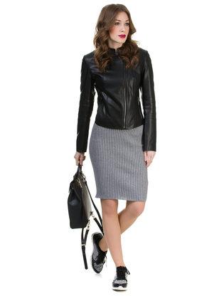Кожаная куртка эко кожа 100% П/А, цвет черный, арт. 18700476  - цена 4495 руб.  - магазин TOTOGROUP