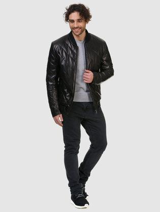 Кожаная куртка кожа овца, цвет черный, арт. 18700487  - цена 18990 руб.  - магазин TOTOGROUP