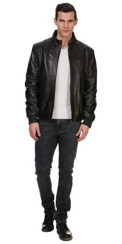 Кожаная куртка кожа овца, цвет черный, арт. 18700493  - цена 14990 руб.  - магазин TOTOGROUP