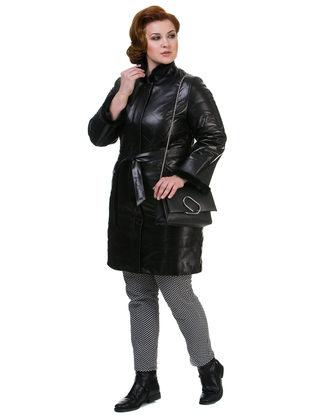 Кожаное пальто кожа овца, цвет черный, арт. 18700525  - цена 19990 руб.  - магазин TOTOGROUP
