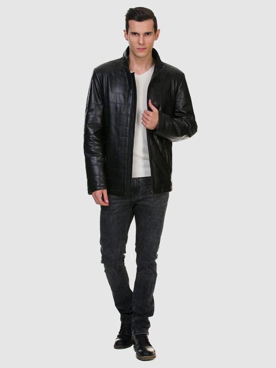Кожаная куртка кожа , цвет черный, арт. 18700531  - цена 13390 руб.  - магазин TOTOGROUP