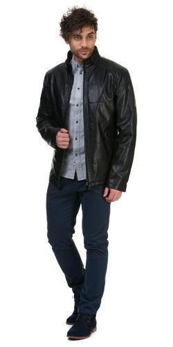 Кожаная куртка эко кожа 100% П/А, цвет черный, арт. 18700532  - цена 9990 руб.  - магазин TOTOGROUP