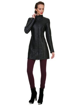 Кожаное пальто эко кожа 100% П/А, цвет черный, арт. 18700554  - цена 5890 руб.  - магазин TOTOGROUP