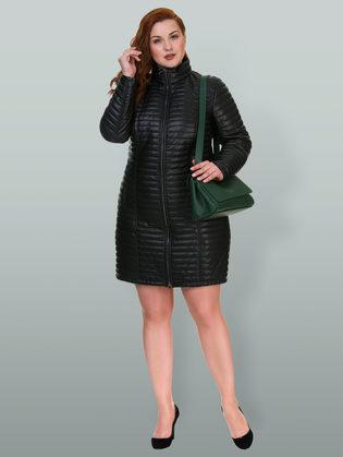 Кожаное пальто эко кожа 100% П/А, цвет черный, арт. 18700555  - цена 6630 руб.  - магазин TOTOGROUP