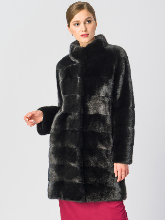 Шуба из норки мех норка, цвет черный, арт. 18700601  - цена 89990 руб.  - магазин TOTOGROUP