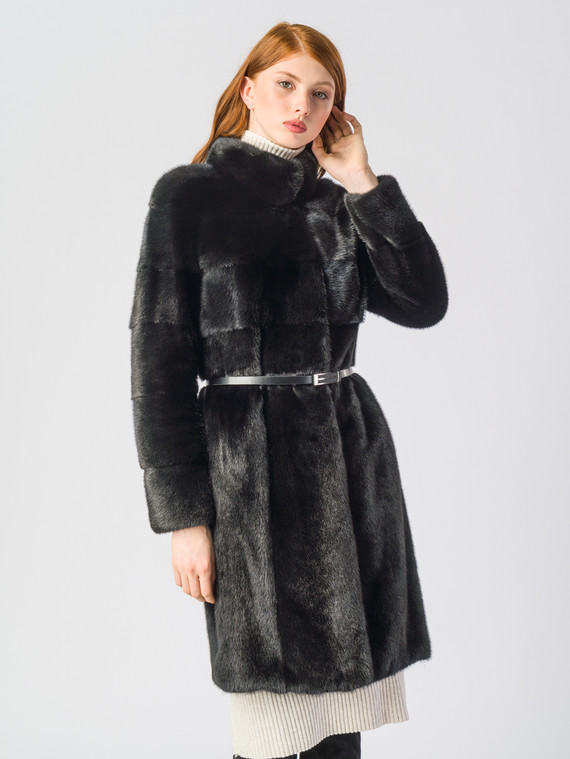 Шуба из норки мех норка, цвет черный, арт. 18700602  - цена 84990 руб.  - магазин TOTOGROUP