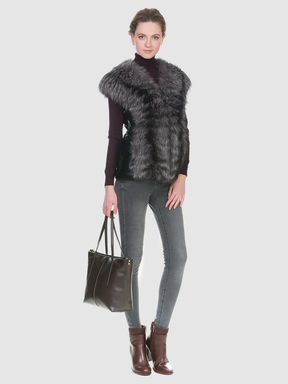 Меховой жилет мех чернобурка, цвет черный, арт. 18700604  - цена 12690 руб.  - магазин TOTOGROUP