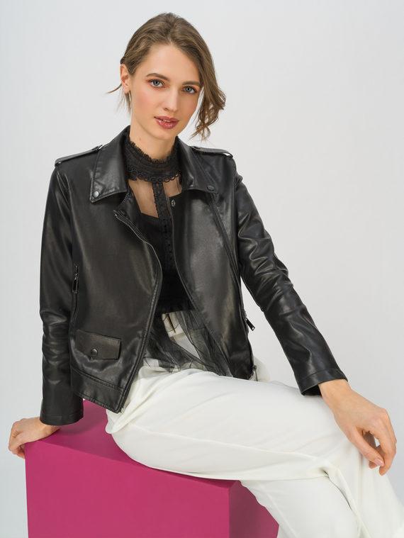 Кожаная куртка эко-кожа 100% П/А, цвет черный, арт. 18711712  - цена 3990 руб.  - магазин TOTOGROUP
