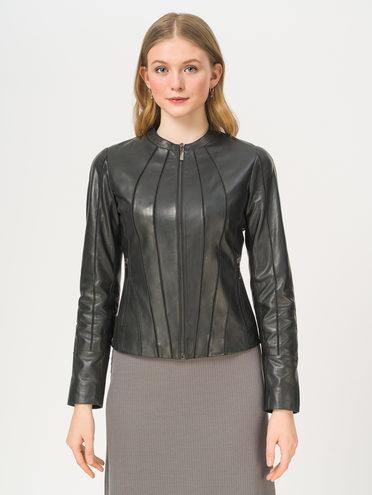 Кожаная куртка кожа, цвет черный, арт. 18802455  - цена 10590 руб.  - магазин TOTOGROUP