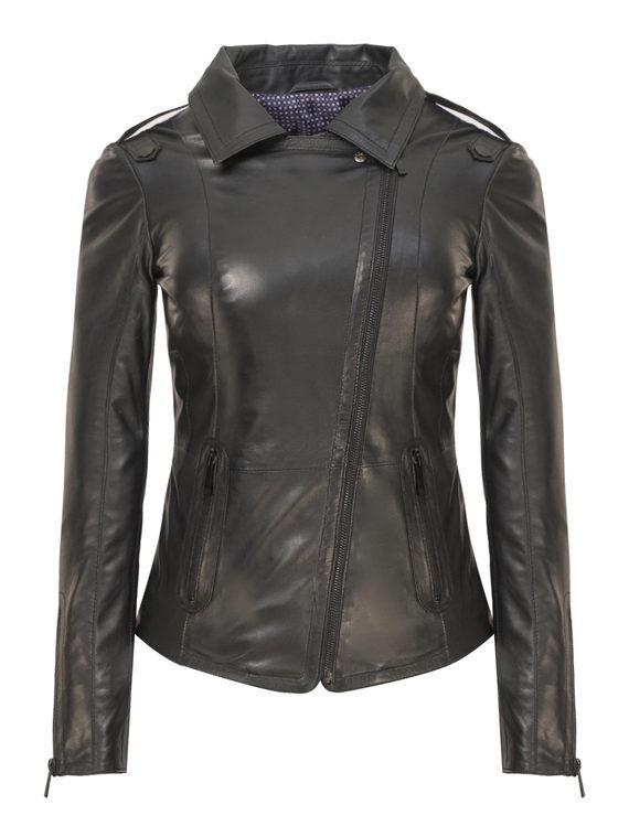 Кожаная куртка кожа, цвет черный, арт. 18802458  - цена 9990 руб.  - магазин TOTOGROUP