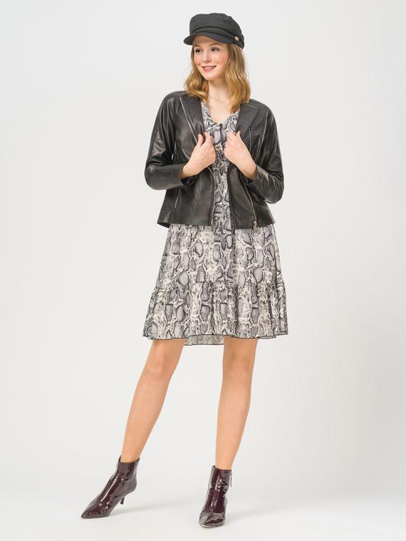 Кожаная куртка кожа, цвет черный, арт. 18802472  - цена 8990 руб.  - магазин TOTOGROUP