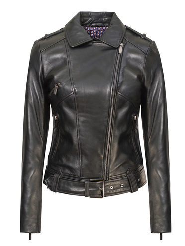 Кожаная куртка кожа, цвет черный, арт. 18802482  - цена 10590 руб.  - магазин TOTOGROUP