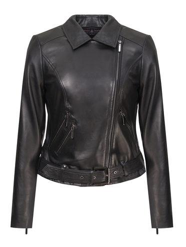 Кожаная куртка кожа, цвет черный, арт. 18802485  - цена 9990 руб.  - магазин TOTOGROUP