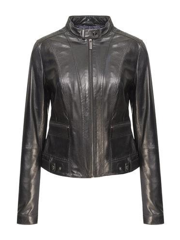 Кожаная куртка кожа, цвет черный, арт. 18802494  - цена 9490 руб.  - магазин TOTOGROUP