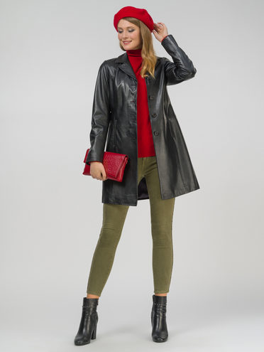 Кожаное пальто кожа, цвет черный, арт. 18802495  - цена 18990 руб.  - магазин TOTOGROUP