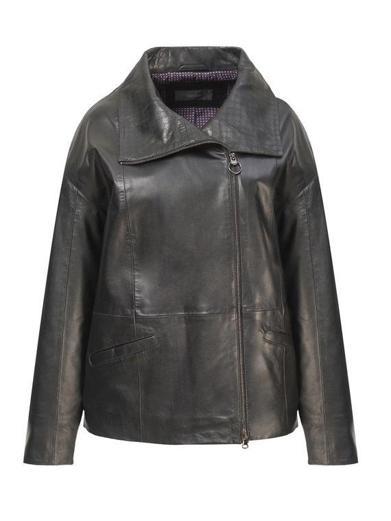 Кожаная куртка кожа, цвет черный, арт. 18802502  - цена 13390 руб.  - магазин TOTOGROUP