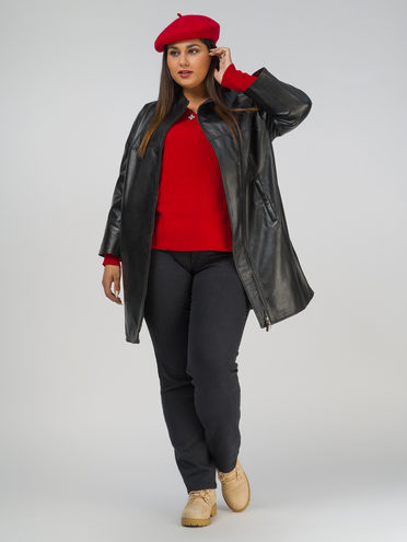 Кожаное пальто кожа, цвет черный, арт. 18802504  - цена 19990 руб.  - магазин TOTOGROUP