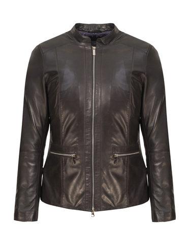 Кожаная куртка кожа, цвет черный, арт. 18802511  - цена 14990 руб.  - магазин TOTOGROUP