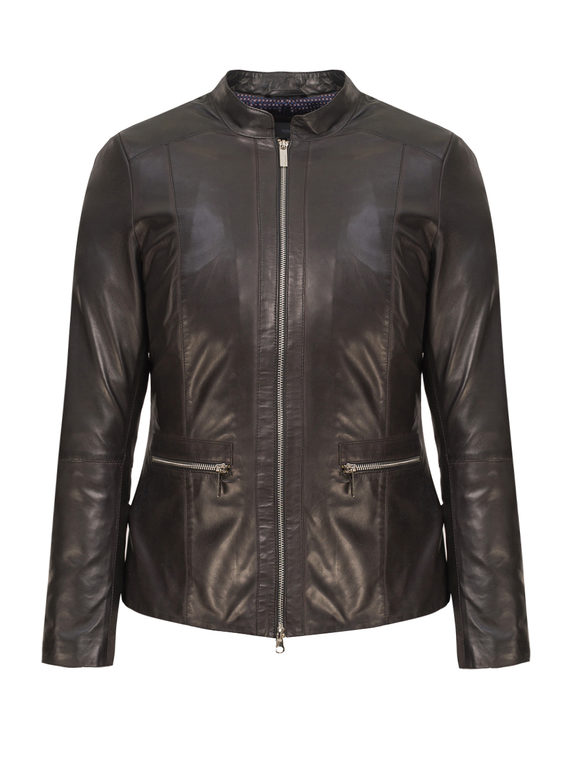 Кожаная куртка кожа, цвет черный, арт. 18802511  - цена 14190 руб.  - магазин TOTOGROUP