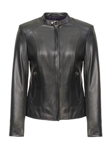 Кожаная куртка кожа, цвет черный, арт. 18809201  - цена 11990 руб.  - магазин TOTOGROUP