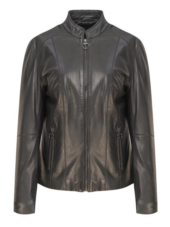Кожаная куртка кожа, цвет черный, арт. 18809205  - цена 12690 руб.  - магазин TOTOGROUP