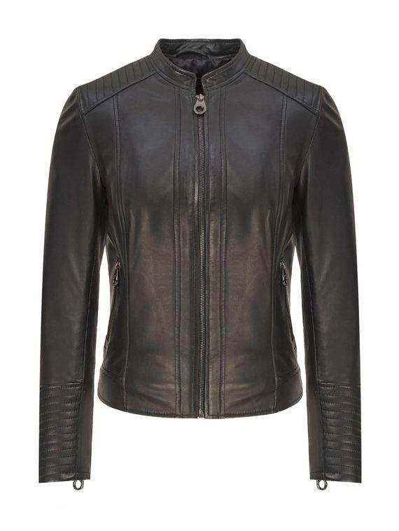 Кожаная куртка кожа, цвет черный, арт. 18809206  - цена 11990 руб.  - магазин TOTOGROUP