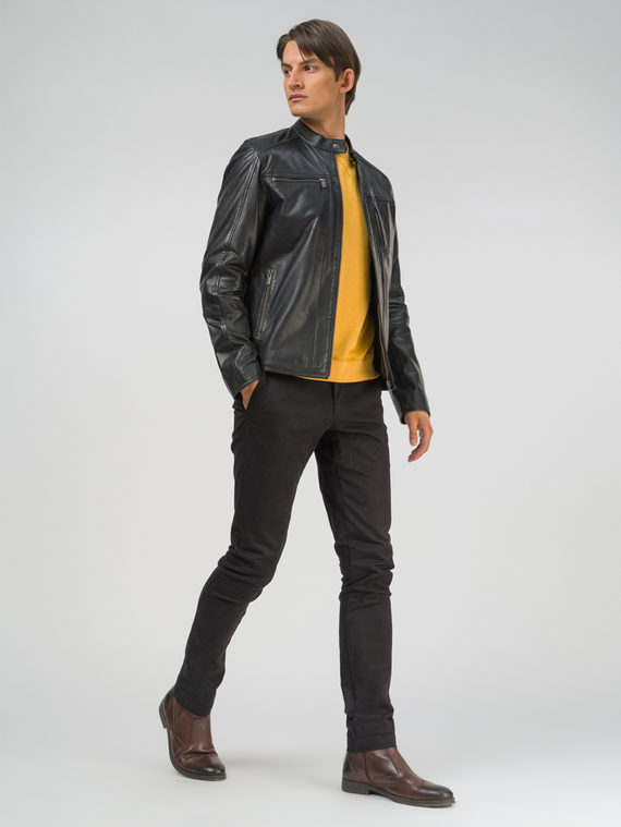 Кожаная куртка кожа, цвет черный, арт. 18809207  - цена 12690 руб.  - магазин TOTOGROUP