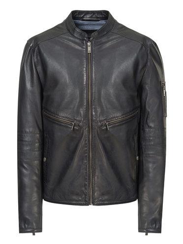 Кожаная куртка кожа, цвет черный, арт. 18809215  - цена 11990 руб.  - магазин TOTOGROUP